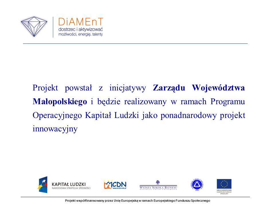 Projekt powstał z inicjatywy Zarządu Województwa Małopolskiego i będzie realizowany w ramach Programu Operacyjnego Kapitał Ludzki jako ponadnarodowy projekt innowacyjny