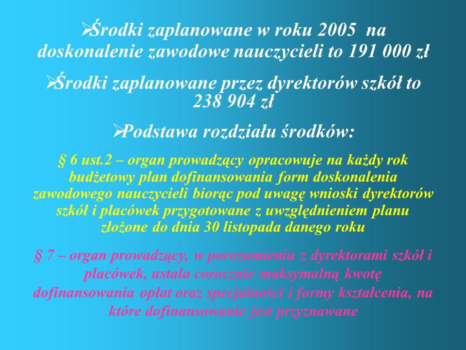 Środki zaplanowane przez dyrektorów szkół to 238 904 zł