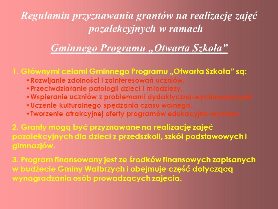 """Gminnego Programu """"Otwarta Szkoła"""