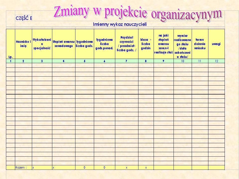 Zmiany w projekcie organizacynym