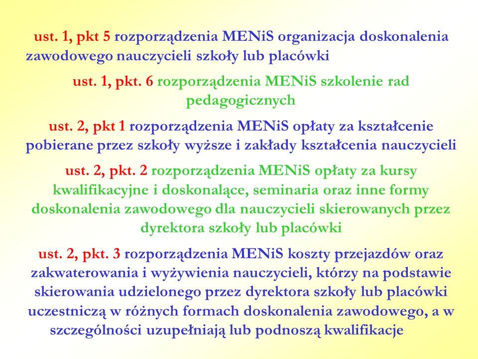 ust. 1, pkt. 6 rozporządzenia MENiS szkolenie rad pedagogicznych