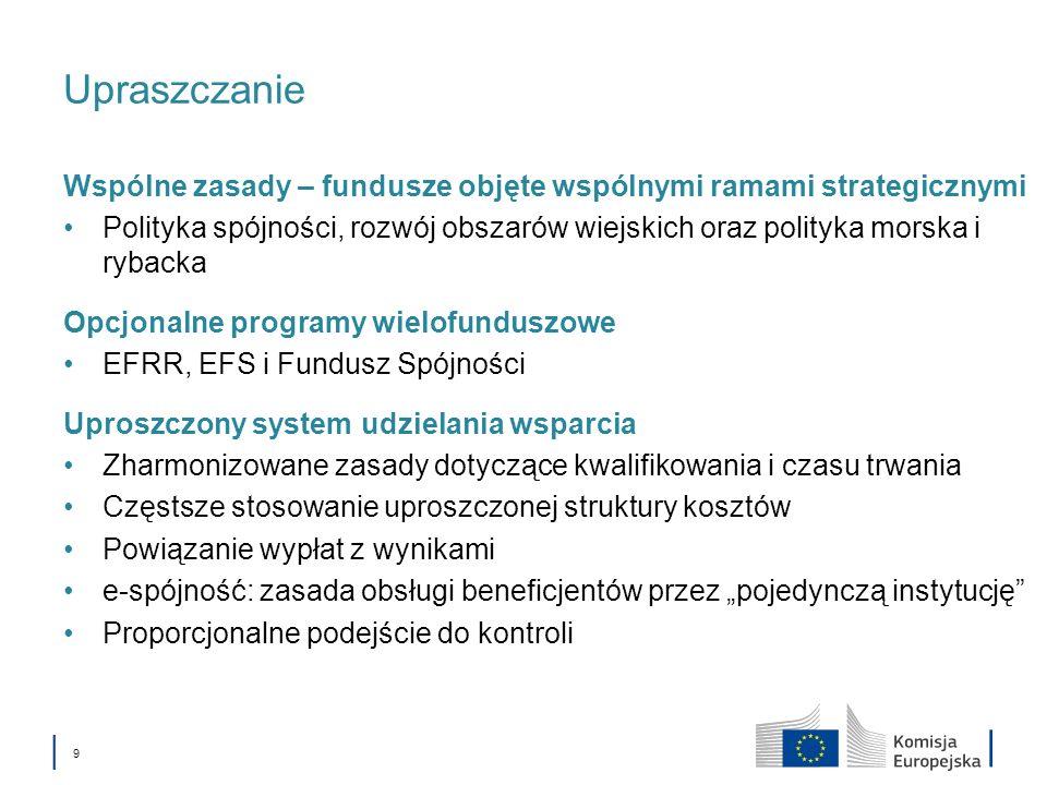 Upraszczanie Wspólne zasady – fundusze objęte wspólnymi ramami strategicznymi.