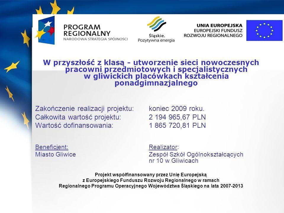 Zakończenie realizacji projektu: koniec 2009 roku.