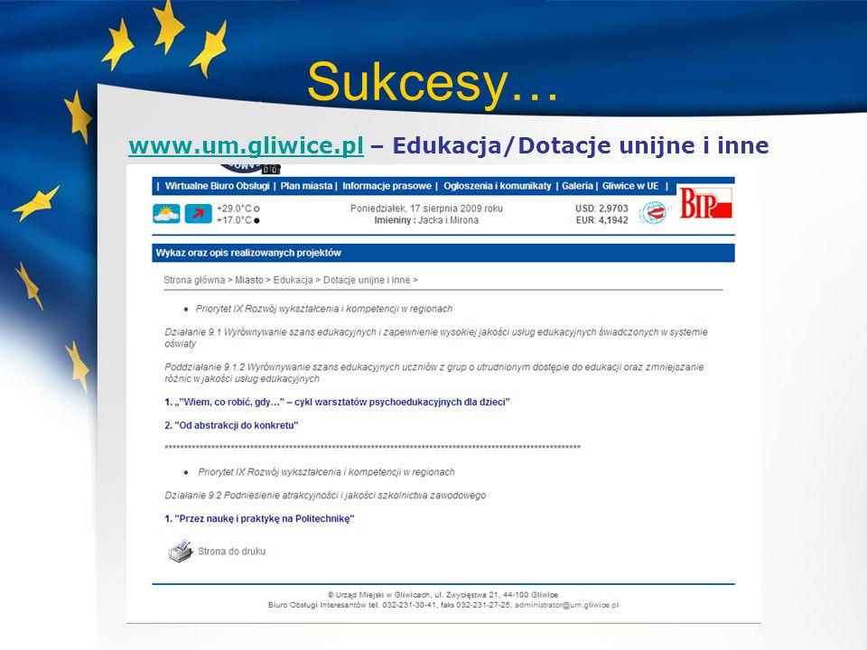 Sukcesy… www.um.gliwice.pl – Edukacja/Dotacje unijne i inne