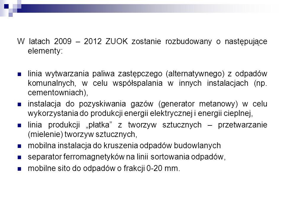 W latach 2009 – 2012 ZUOK zostanie rozbudowany o następujące elementy: