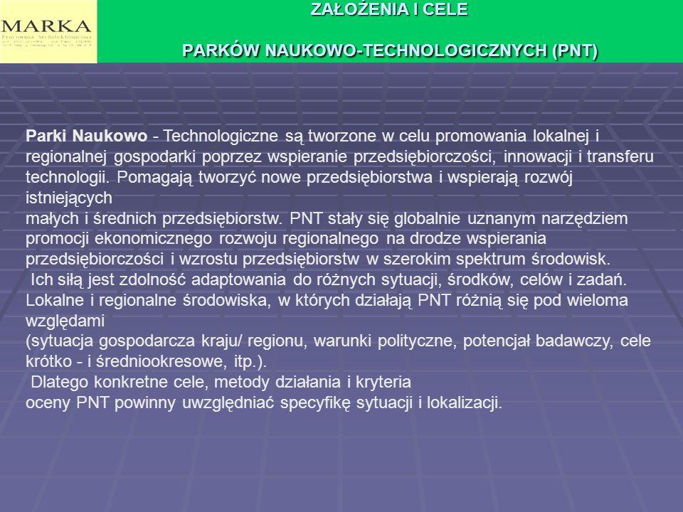 ZAŁOŻENIA I CELE PARKÓW NAUKOWO-TECHNOLOGICZNYCH (PNT)