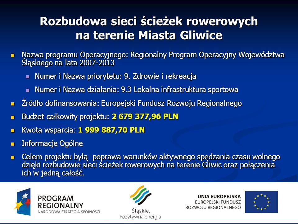 Rozbudowa sieci ścieżek rowerowych na terenie Miasta Gliwice
