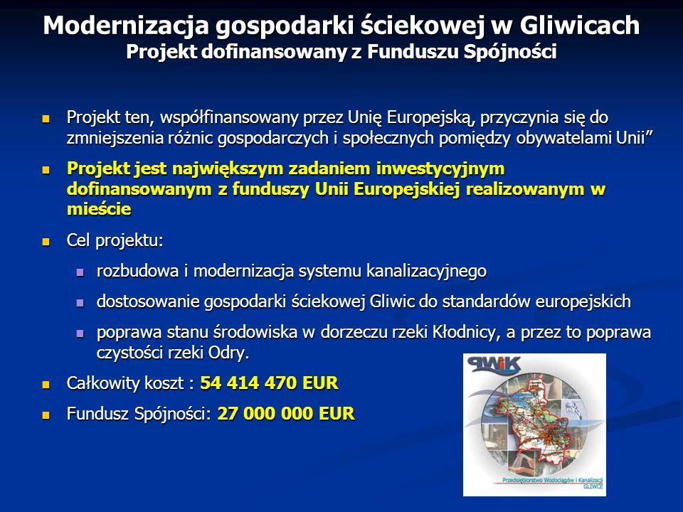Modernizacja gospodarki ściekowej w Gliwicach Projekt dofinansowany z Funduszu Spójności