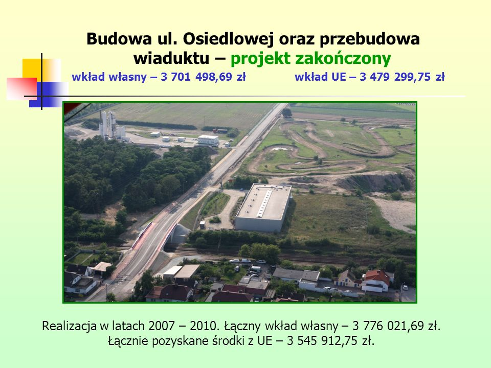 Budowa ul. Osiedlowej oraz przebudowa wiaduktu – projekt zakończony