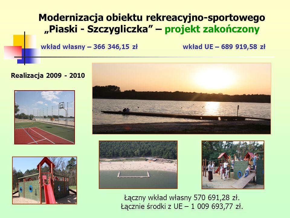 """Modernizacja obiektu rekreacyjno-sportowego """"Piaski - Szczygliczka – projekt zakończony wkład własny – 366 346,15 zł wkład UE – 689 919,58 zł"""
