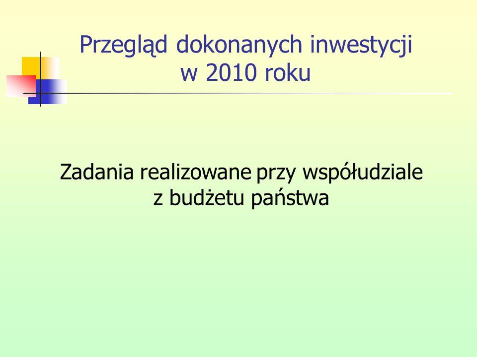 Przegląd dokonanych inwestycji w 2010 roku