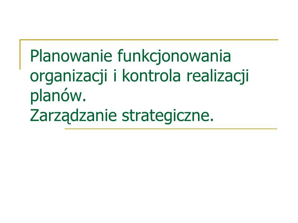 Planowanie funkcjonowania organizacji i kontrola realizacji planów