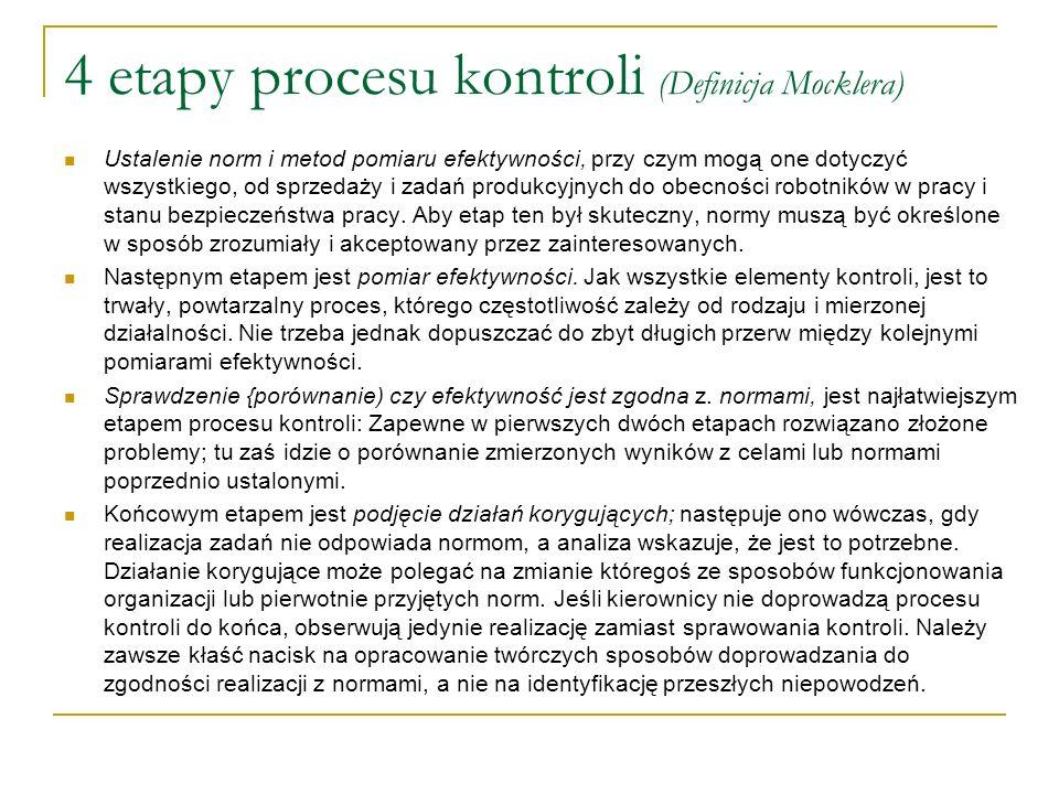 4 etapy procesu kontroli (Definicja Mocklera)