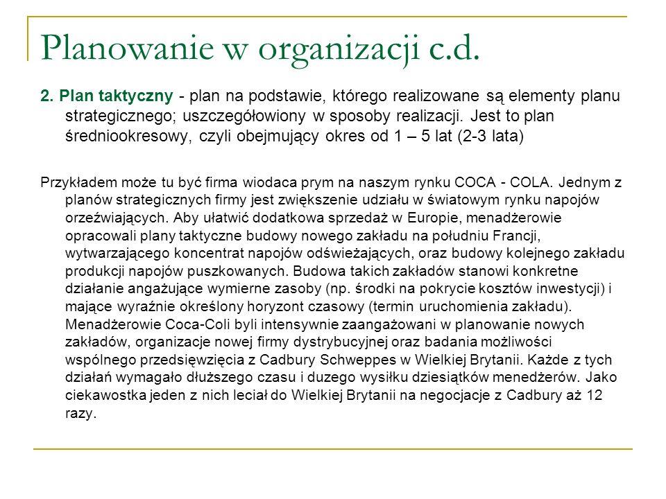 Planowanie w organizacji c.d.