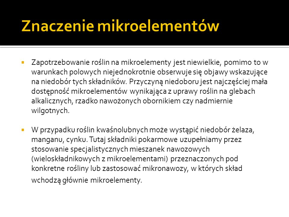 Znaczenie mikroelementów