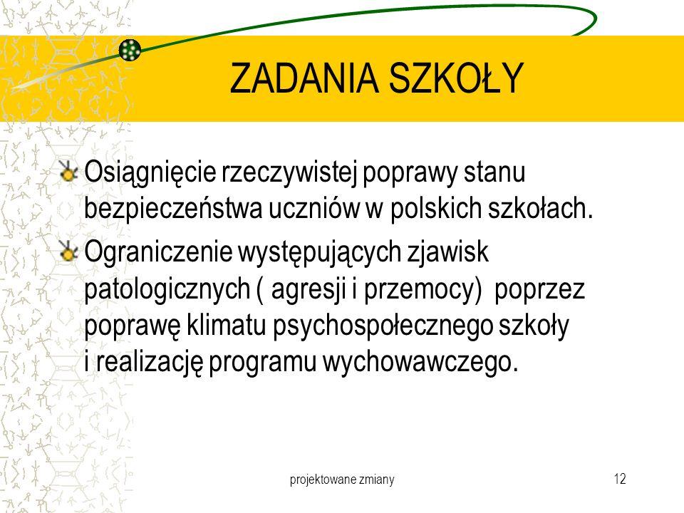 ZADANIA SZKOŁY Osiągnięcie rzeczywistej poprawy stanu bezpieczeństwa uczniów w polskich szkołach.