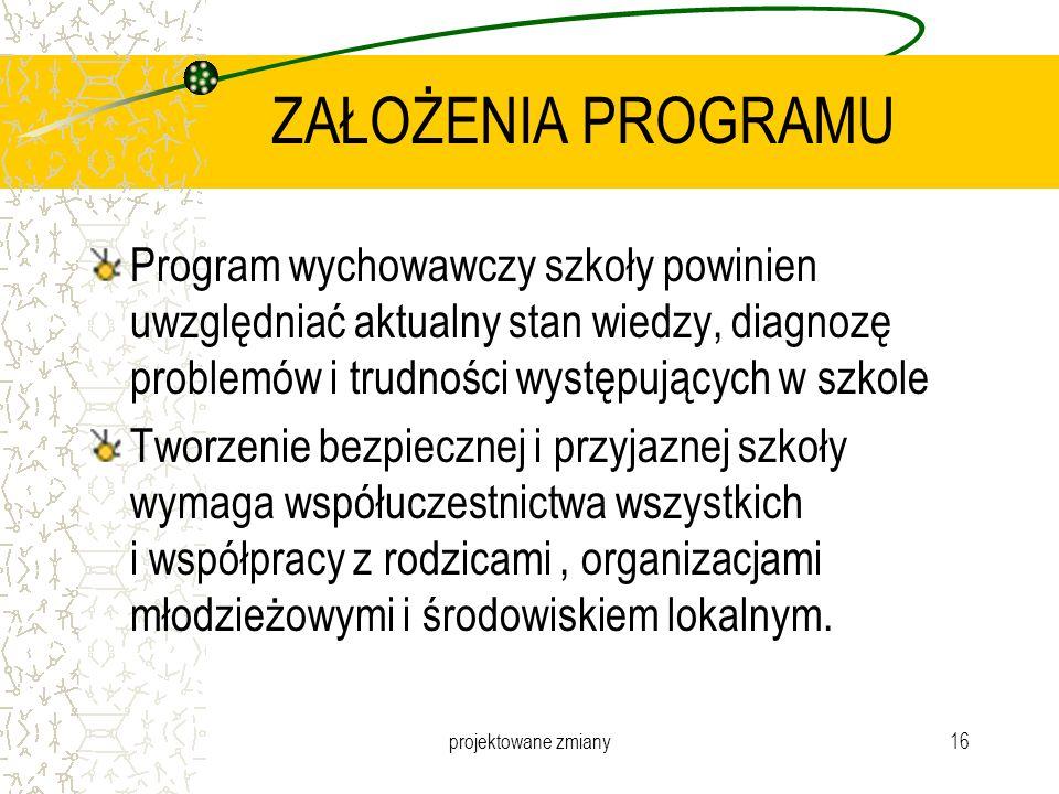 ZAŁOŻENIA PROGRAMU Program wychowawczy szkoły powinien uwzględniać aktualny stan wiedzy, diagnozę problemów i trudności występujących w szkole.