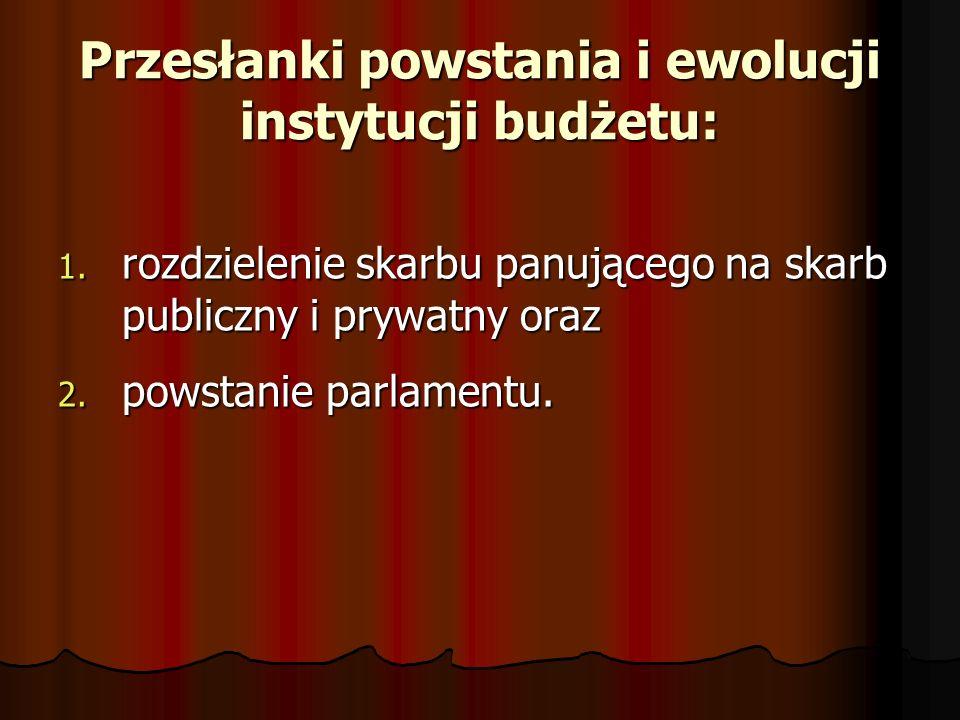 Przesłanki powstania i ewolucji instytucji budżetu: