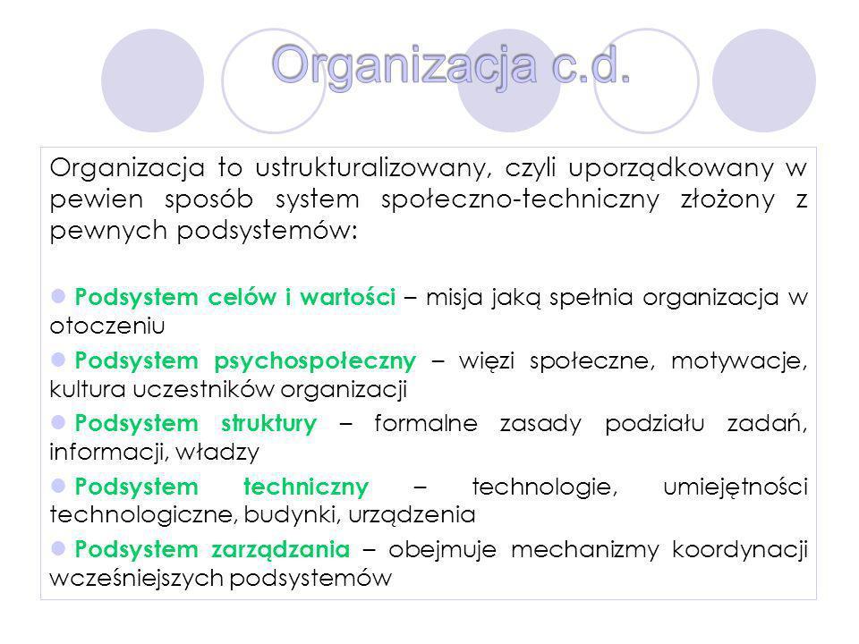 Organizacja c.d. Organizacja to ustrukturalizowany, czyli uporządkowany w pewien sposób system społeczno-techniczny złożony z pewnych podsystemów: