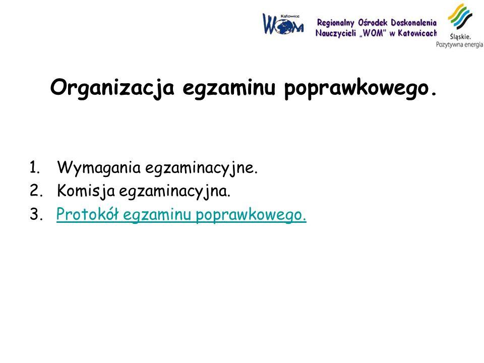 Organizacja egzaminu poprawkowego.