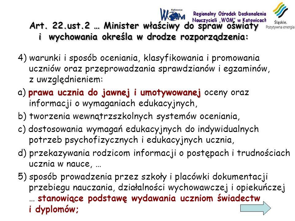 Art. 22.ust.2 … Minister właściwy do spraw oświaty i wychowania określa w drodze rozporządzenia: