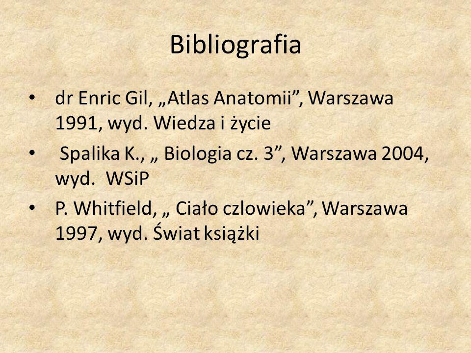 """Bibliografia dr Enric Gil, """"Atlas Anatomii , Warszawa 1991, wyd. Wiedza i życie. Spalika K., """" Biologia cz. 3 , Warszawa 2004, wyd. WSiP."""