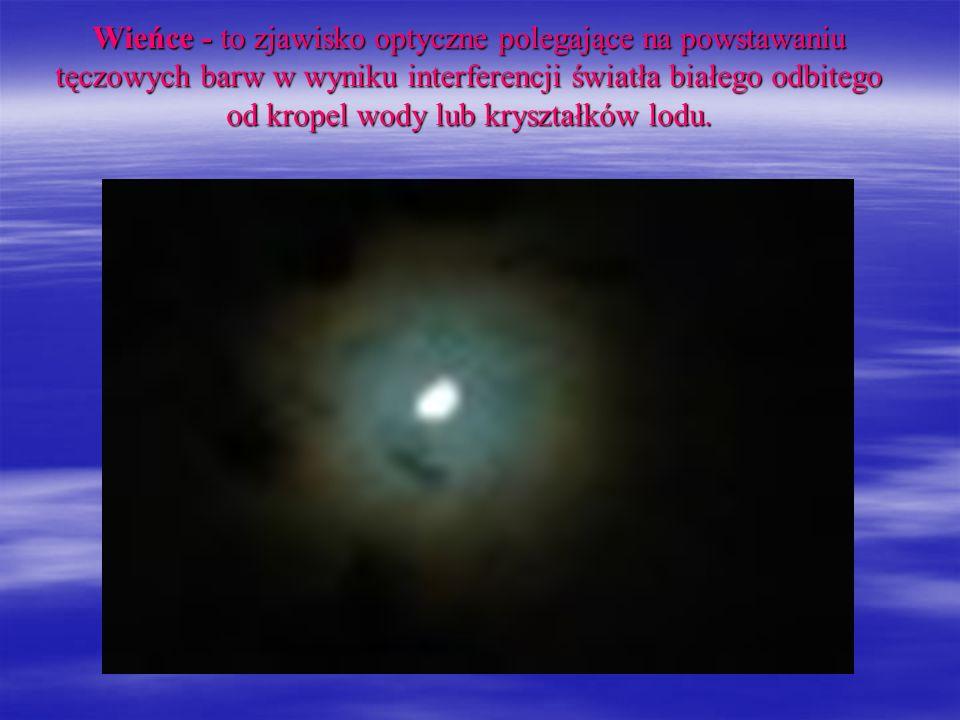 Wieńce - to zjawisko optyczne polegające na powstawaniu tęczowych barw w wyniku interferencji światła białego odbitego od kropel wody lub kryształków lodu.