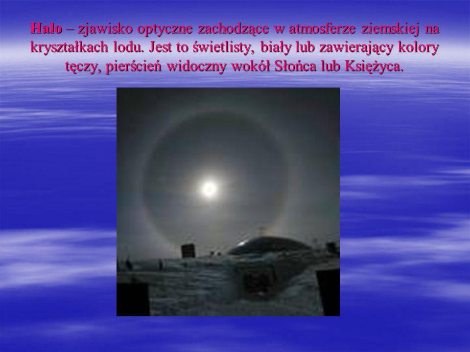 Halo – zjawisko optyczne zachodzące w atmosferze ziemskiej na kryształkach lodu.