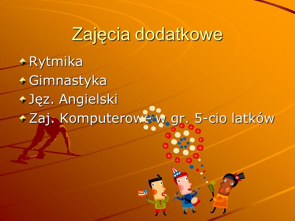 Zajęcia dodatkowe Rytmika Gimnastyka Jęz. Angielski