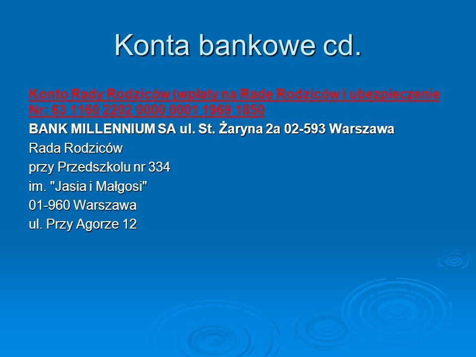 Konta bankowe cd. Konto Rady Rodziców (wpłaty na Radę Rodziców i ubezpieczenie Nr: 63 1160 2202 0000 0001 1969 1850.