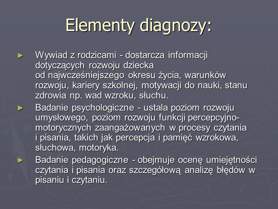Elementy diagnozy: