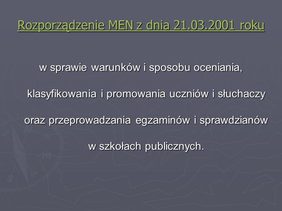Rozporządzenie MEN z dnia 21.03.2001 roku