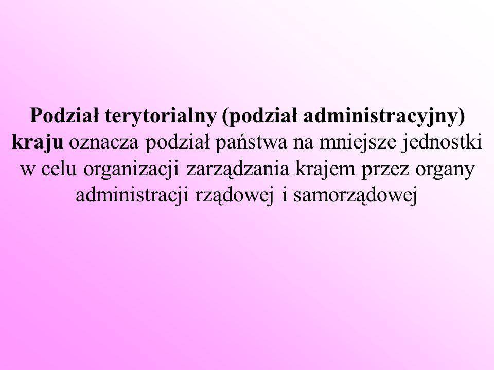 Podział terytorialny (podział administracyjny) kraju oznacza podział państwa na mniejsze jednostki w celu organizacji zarządzania krajem przez organy administracji rządowej i samorządowej