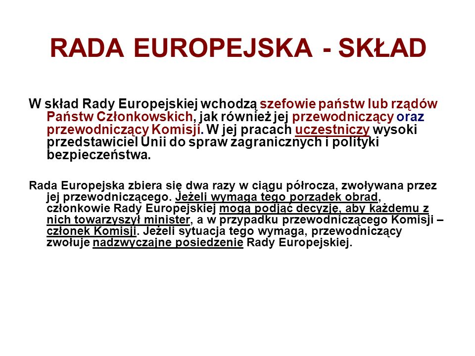 RADA EUROPEJSKA - SKŁAD