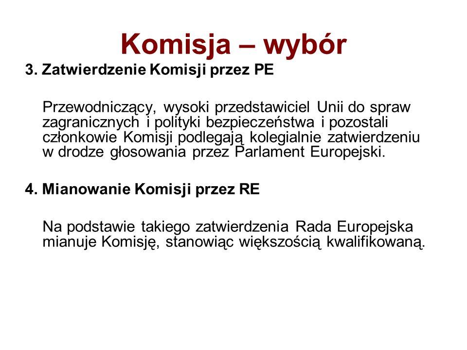Komisja – wybór 3. Zatwierdzenie Komisji przez PE