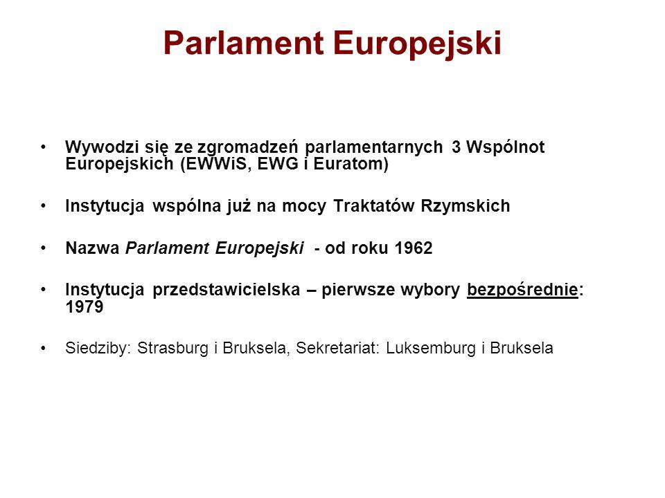 Parlament Europejski Wywodzi się ze zgromadzeń parlamentarnych 3 Wspólnot Europejskich (EWWiS, EWG i Euratom)