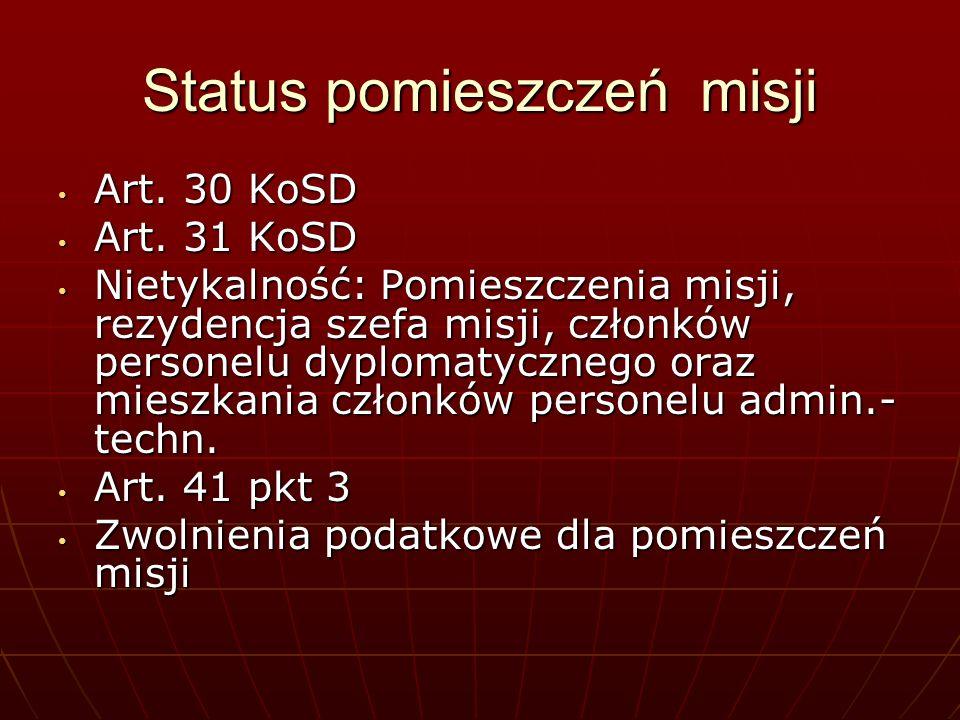 Status pomieszczeń misji