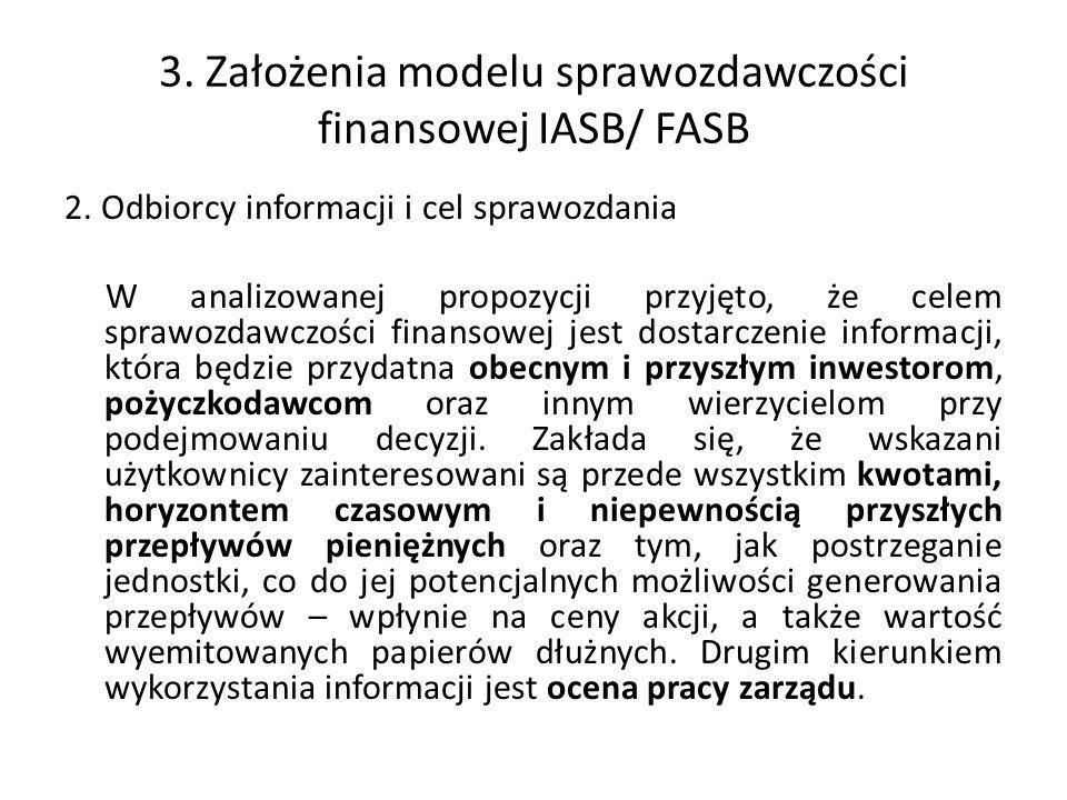 3. Założenia modelu sprawozdawczości finansowej IASB/ FASB