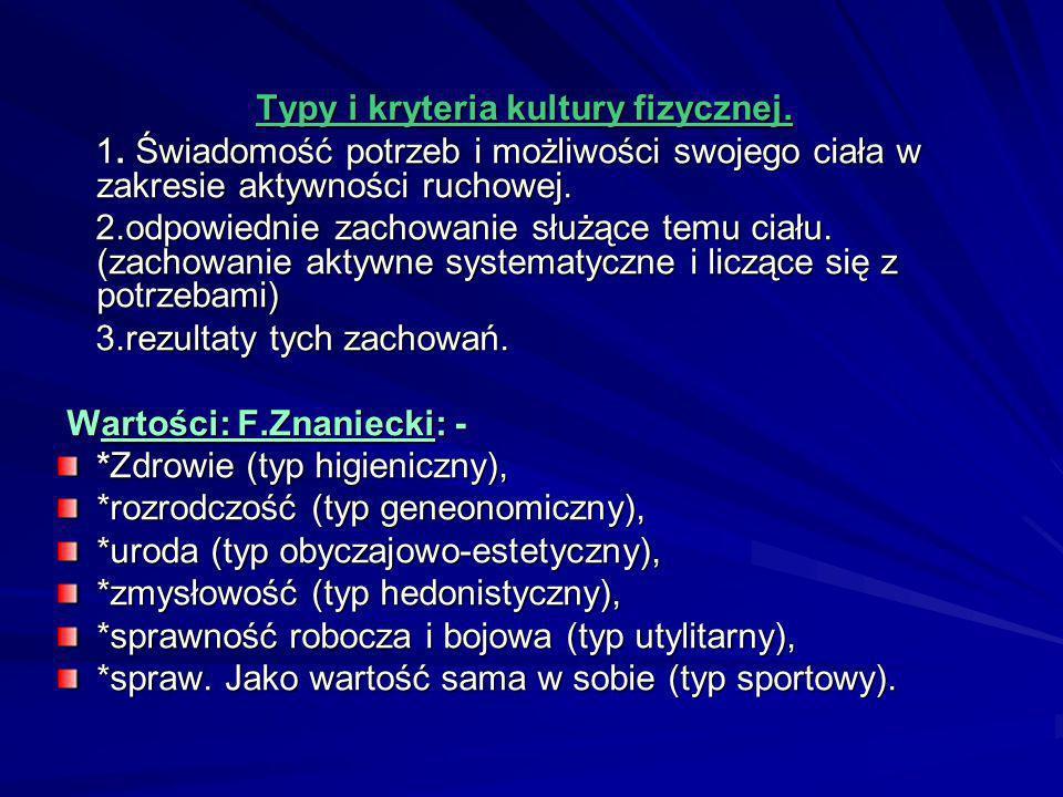 Typy i kryteria kultury fizycznej.