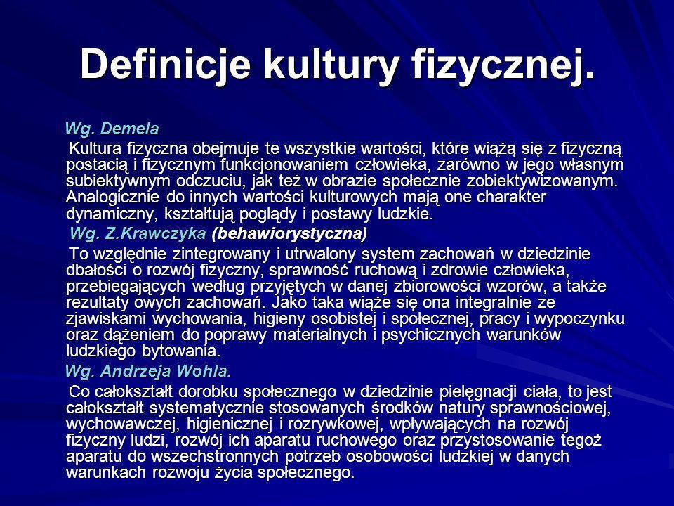 Definicje kultury fizycznej.