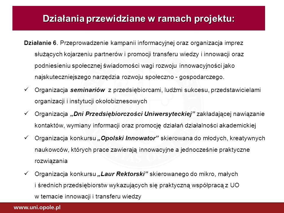 Działania przewidziane w ramach projektu: