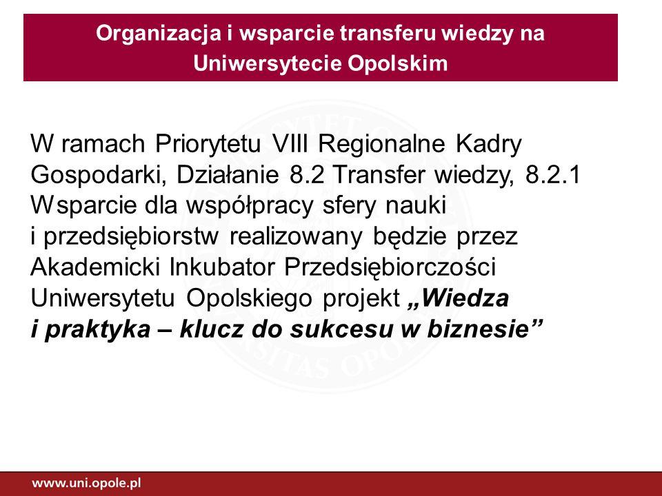 Organizacja i wsparcie transferu wiedzy na Uniwersytecie Opolskim
