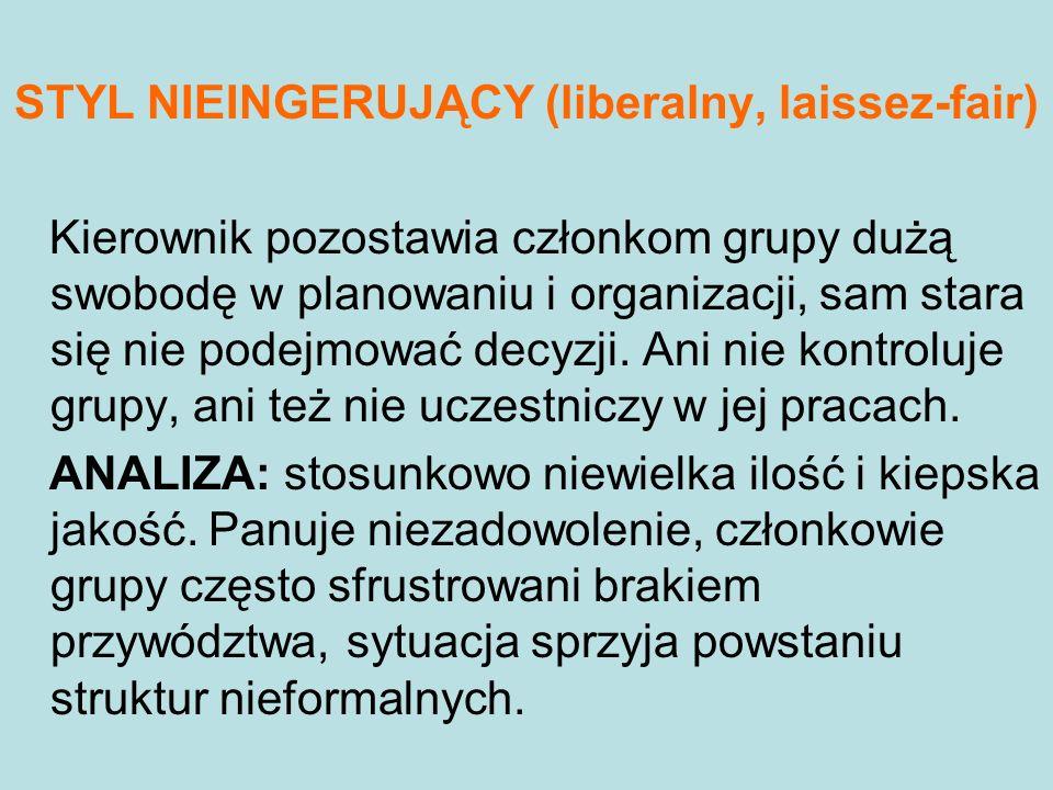 STYL NIEINGERUJĄCY (liberalny, laissez-fair)