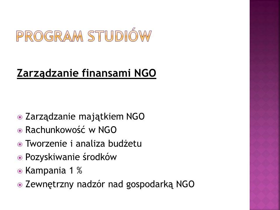 Program studiów Zarządzanie finansami NGO Zarządzanie majątkiem NGO
