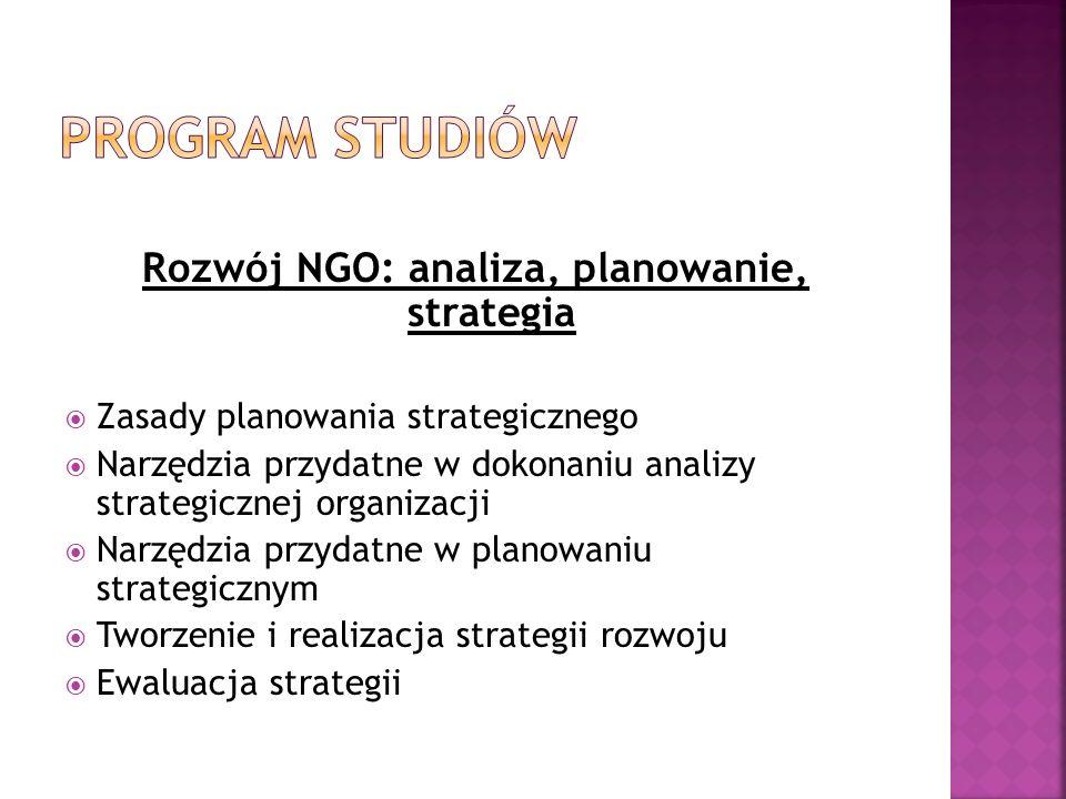 Rozwój NGO: analiza, planowanie, strategia