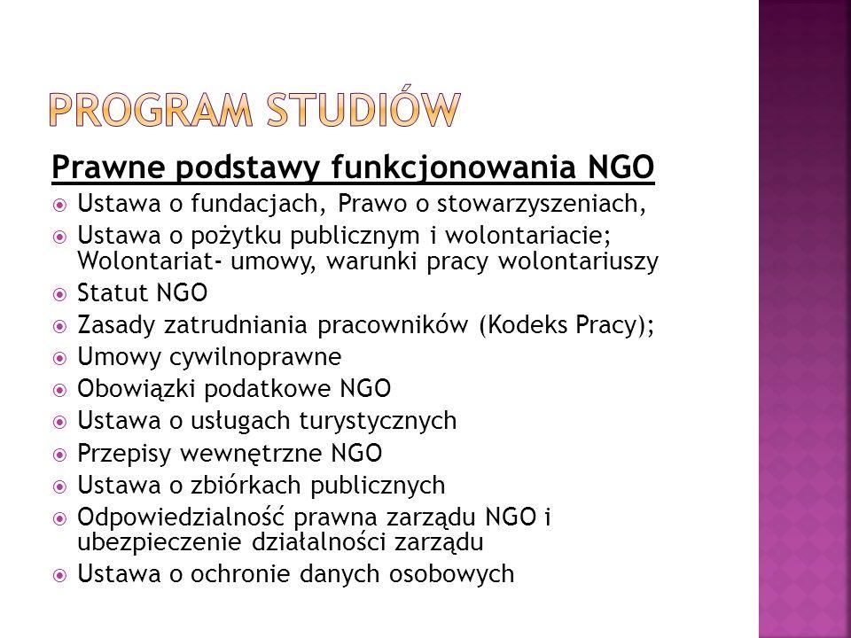 Program studiów Prawne podstawy funkcjonowania NGO