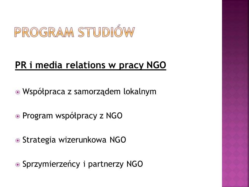 Program studiów PR i media relations w pracy NGO