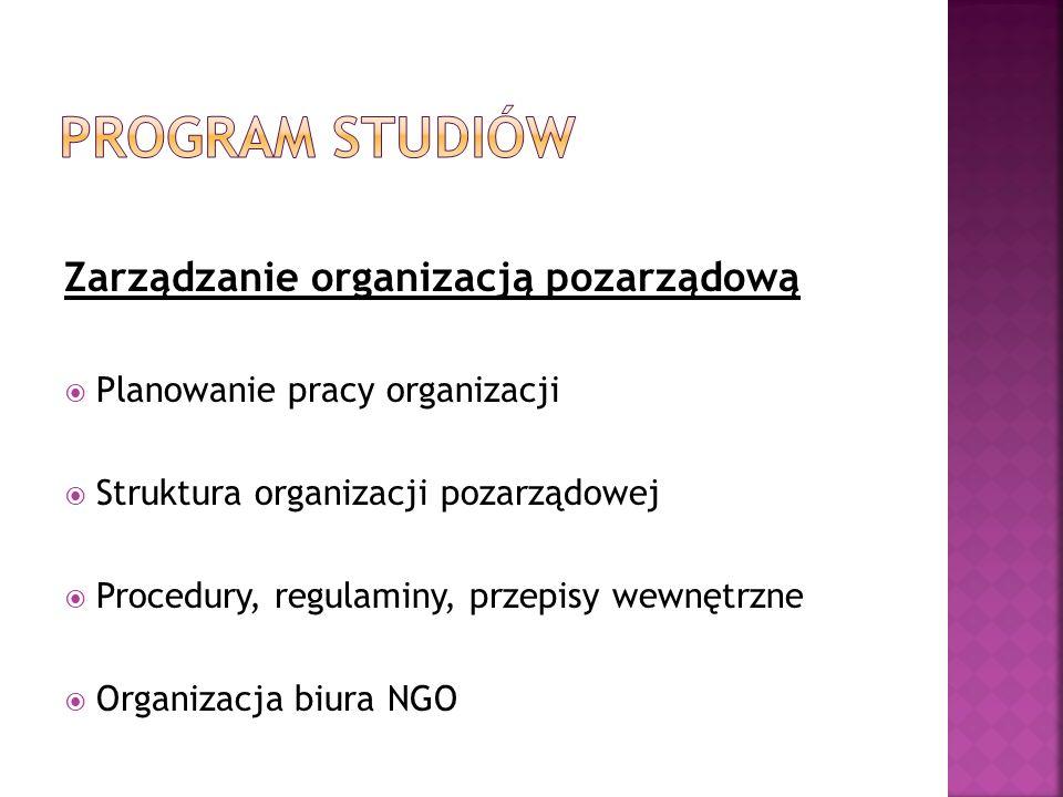 Program studiów Zarządzanie organizacją pozarządową