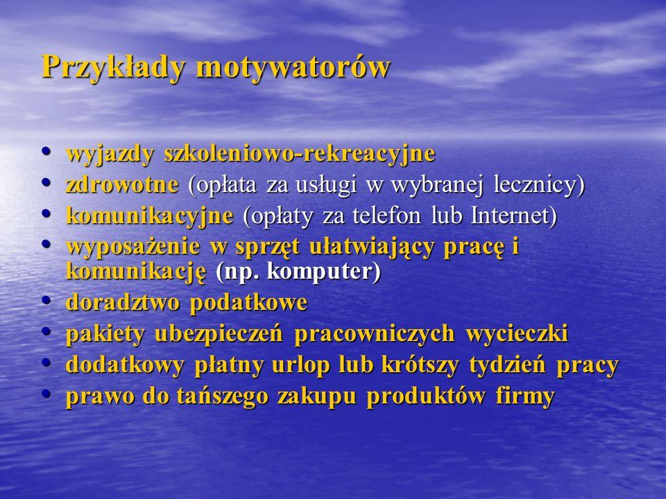Przykłady motywatorów