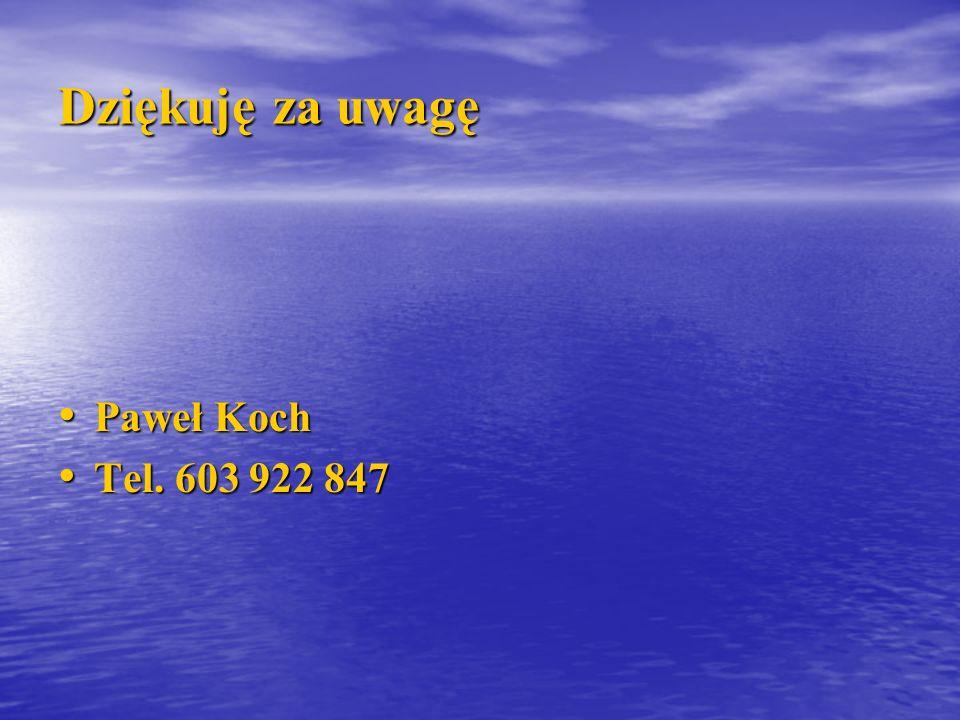 Dziękuję za uwagę Paweł Koch Tel. 603 922 847